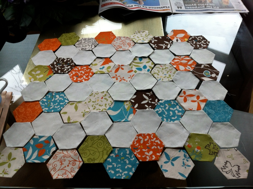 hand pieced hexies