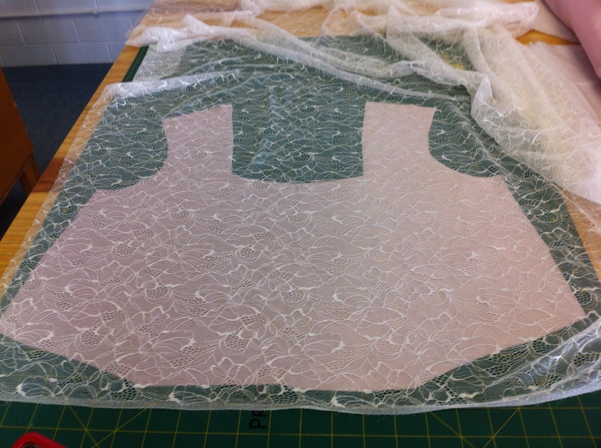 Lace and satin basted bodice