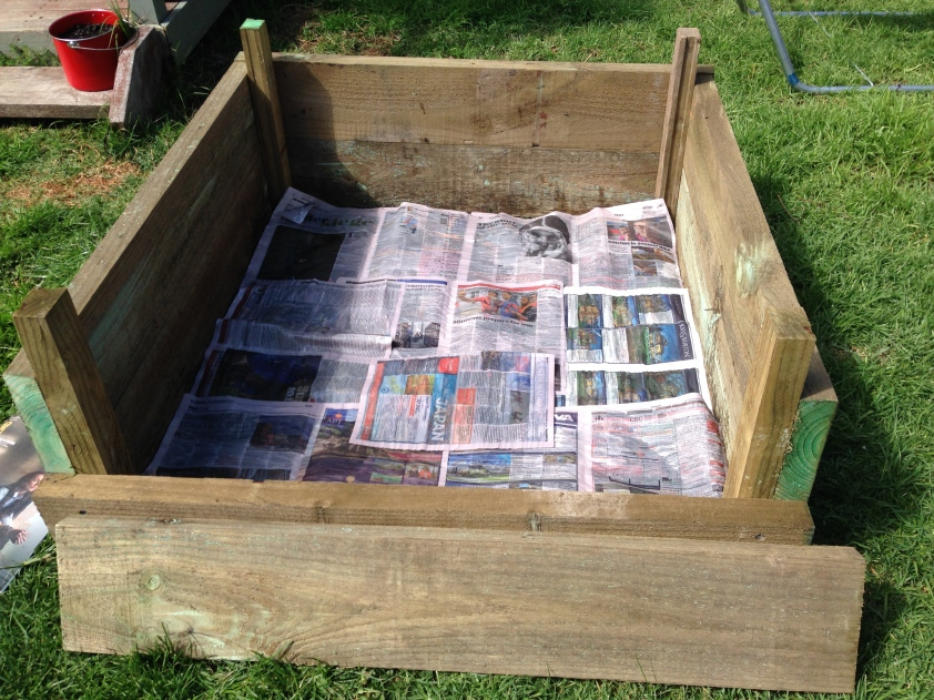 A thick layer of newspaper was put down over the grass, which in theory will help this be a no dig bed